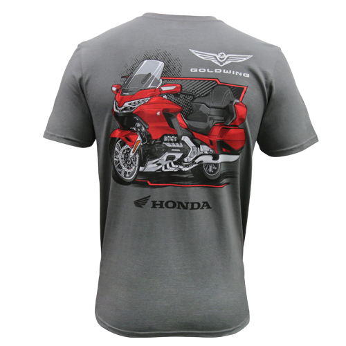 Honda Official Men's Grey Tee - Back Graphic of Red and Black 2019 Honda Gold Wing