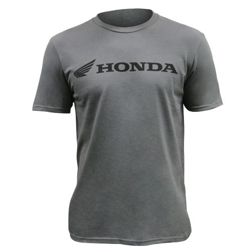 Honda Official Men's Grey Tee Front with Black Powersports Honda logo